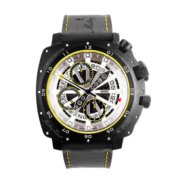 Mathey-Tissot Gent's Limited Edition Storm Watch with ETA Valjoux 7750 Movement, IP Plated Titanium Case and Genuine Leather Strap Black/Yellow
