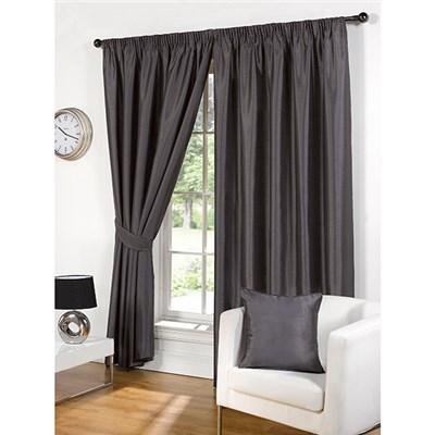 Faux Silk (90 inches x) 3 Inch Lined Tape Header Curtains with Matching Tie Backs