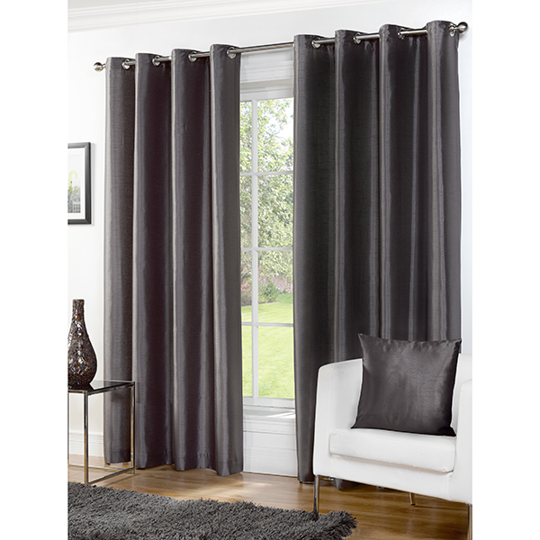 Faux Silk (66 inches x) Lined Ring Top Curtains Grey