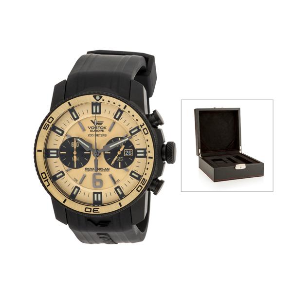 Vostok Europe Gent's Chronograph Ekranoplan Watch with Interchangeable Strap and Luxury Box Gold