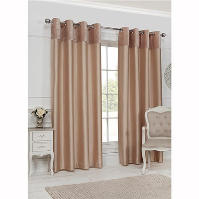 Velvet Border (66 inches x) Lined Ring Top Curtains