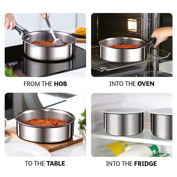 tefal ingenio 13 piece stainless steel pan set with grill. Black Bedroom Furniture Sets. Home Design Ideas