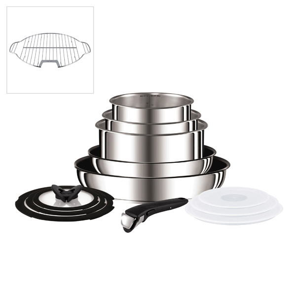 Tefal Ingenio 13 Piece Stainless Steel Pan Set with Grill Insert No Colour