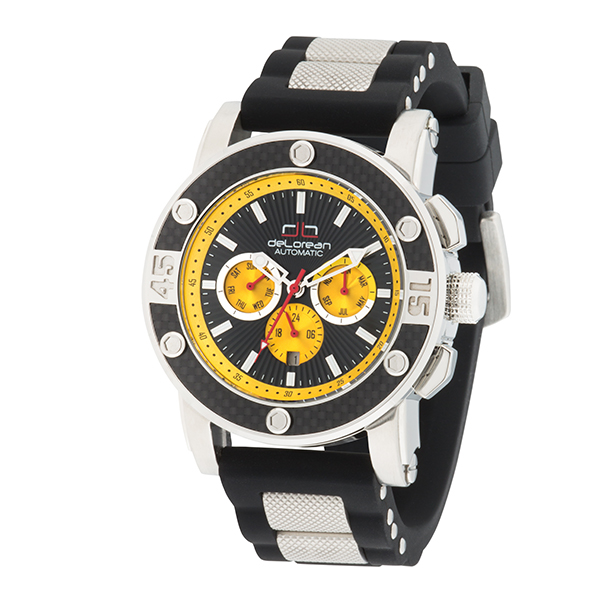 20% off deLorean Gent's Limited Edition Automatic Volant Watch with Carbon Ring and Silicone Strap