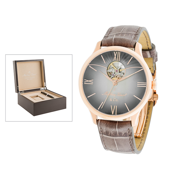 Mathey-Tissot Gent's Limited-Edition IP MS11 Edmond Watch with Genuine Leather Strap, Luxury Box and Caran Dache Pen Rose Gold