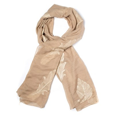 Embroidered Gold Leaf Scarf