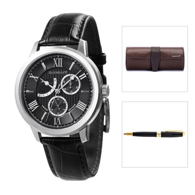 Thomas Earnshaw Gents Cornwall Retrograde Watch with Genuine Leather Strap, Watch Roll and Pen