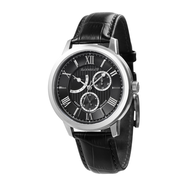 Thomas Earnshaw Gents Cornwall Retrograde Watch with Genuine Leather Strap Black/Silver