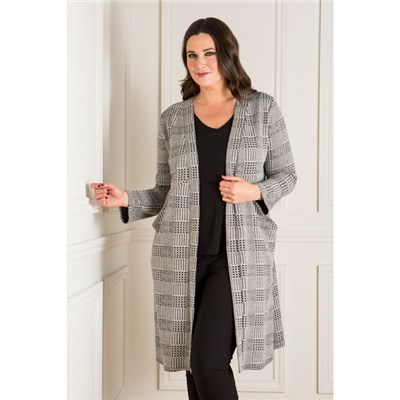 Nicole Dogtooth Check Duster Jacket with Pockets