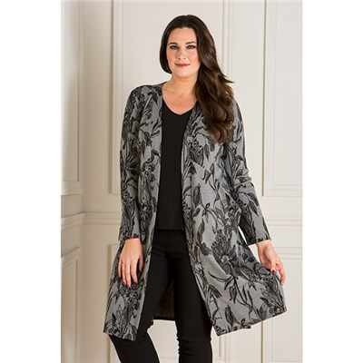 Nicole Floral Jacquard Duster Jacket with Pockets