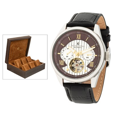 Constantin Weisz Gent's Automatic Watch with Open Heart, Genuine Leather Strap and FREE 6 Slot Box