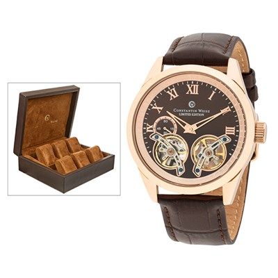 Constantin Weisz Gent's Limited Edition Automatic Watch with Double Open Heart, Genuine Leather Strap and FREE 6 Slot Box