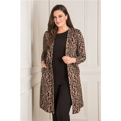 Nicole Ponte Flocked Longline Jacket with Pockets