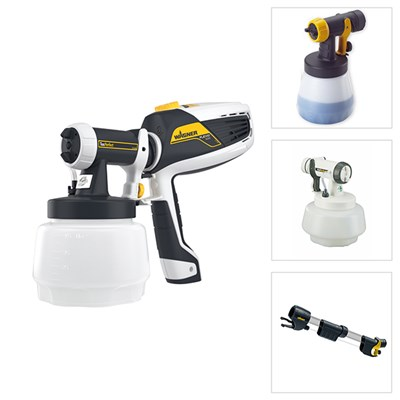 Wagner Universal Sprayer W 525 Flexio with Textured Attachment, Wallperfect and Wood & Metal Attachment with Free Extension Handle