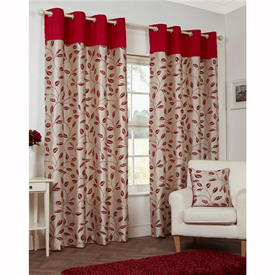 Leaf Trail Flock (66 inches x) Lined Ring Top Curtains