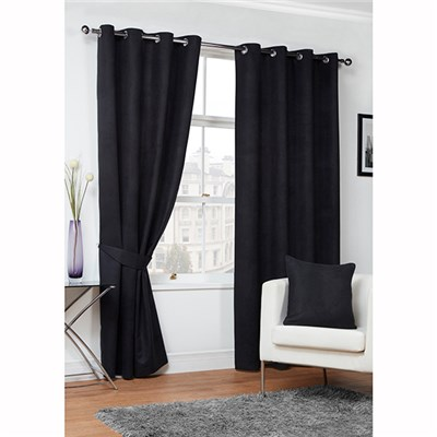 Faux Suede (90 inches x) Lined Ring Top Curtains