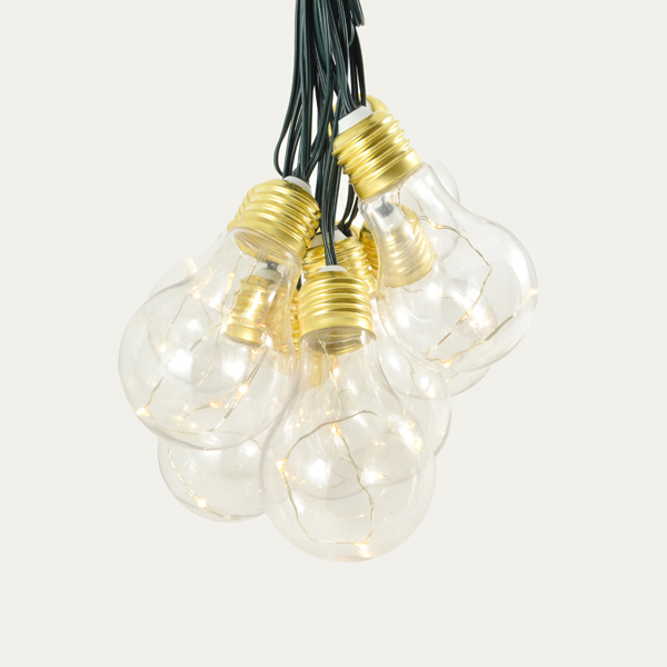 Lumify Vintage Bulb Outdoor String Lights - USB/Solar Powered No Colour