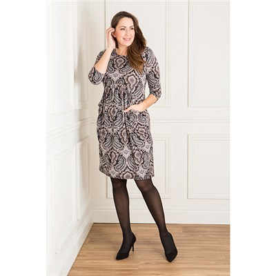 Nicole Print Gathered Drape Pocket Dress