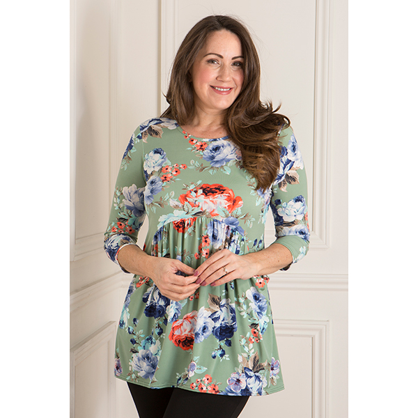 Nicole Print Gathered Drape Pocket Top Pistachio Blossom