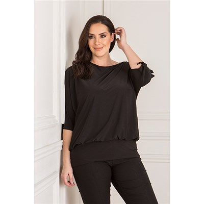Styled By Split Sleeve Top with Banded Hem