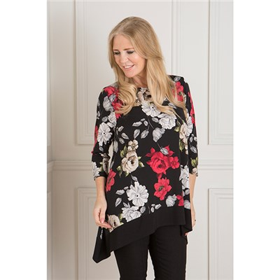 Styled By Print Tunic with Contrast Hem
