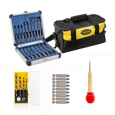 Drill All Drill Bits, 16 Piece Drill Bits with 9 Piece Screwdriver Set, 4 Piece Reverse Action Drill Bits, Centre Punch and Tool Bag
