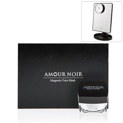 Amour Noir Magnetic Face Mask 50g, Applicator and Magnet. Gift boxed Plus LED Cosmetic Mirror.
