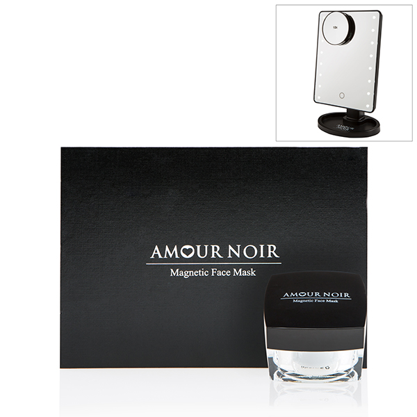 Amour Noir Magnetic Face Mask 50g, Applicator and Magnet. Gift boxed Plus LED Cosmetic Mirror. No Colour