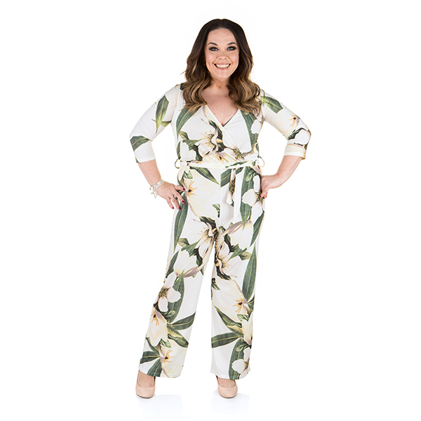 Just Be You Print Wrap Jumpsuit Print