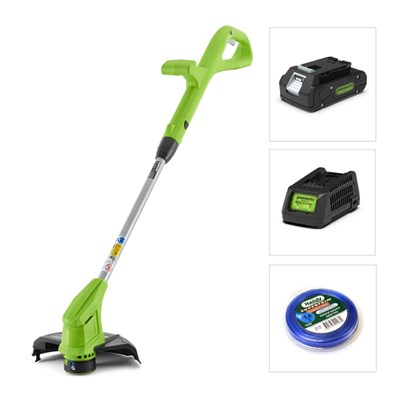 Greenworks 24V Line Trimmer with Battery, Charger and Nylon Line