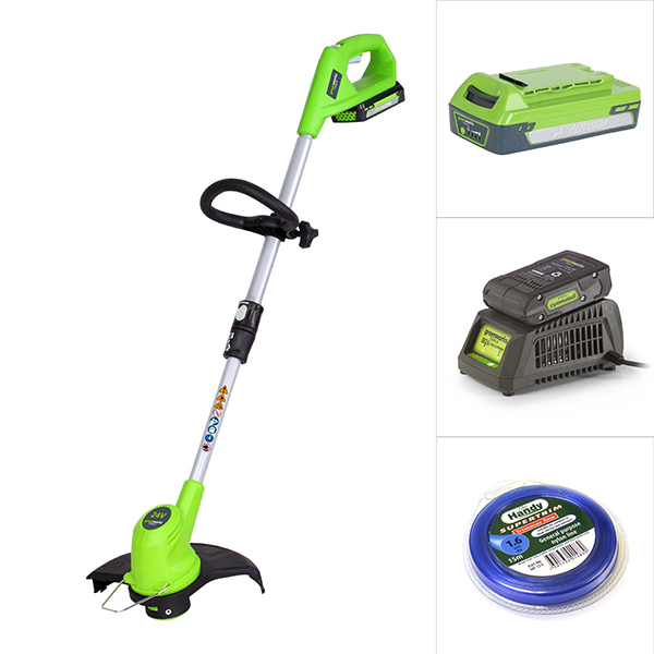 Greenworks 24V Line Trimmer with Battery, Charger and Nylon Line No Colour