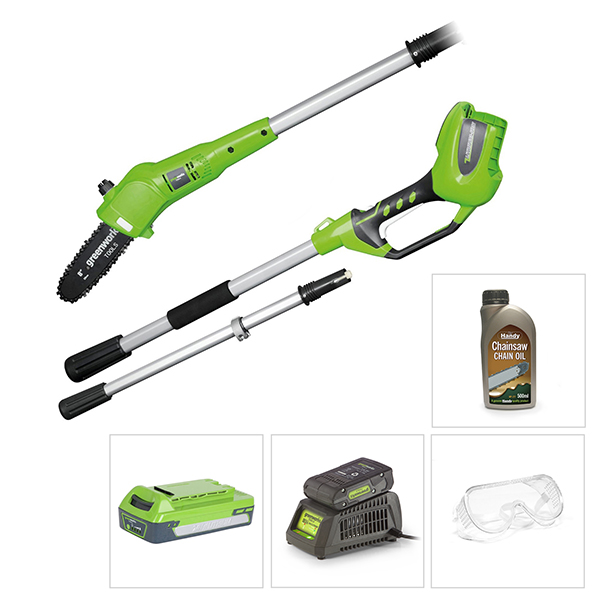 Greenworks 24V Long Reach Pole Saw with Battery, Charger, Glasses and Chain Oil No Colour