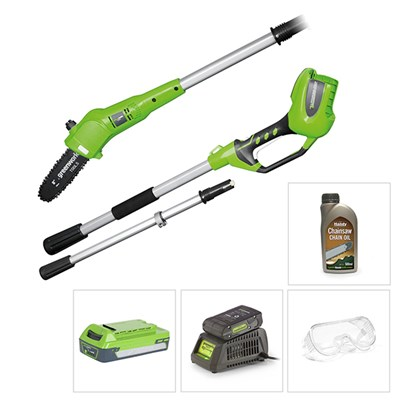 Greenworks 24V Long Reach Pole Saw with Battery, Charger, Glasses and Chain Oil