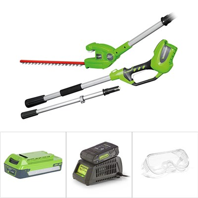 Greenworks 24V Long Reach Hedge Trimmer, with Charger, Battery and Goggles