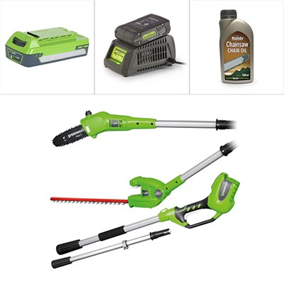 Greenworks 24V Long Reach 2-in-1 Hedge Trimmer, Line Trimmer with Battery and Charger