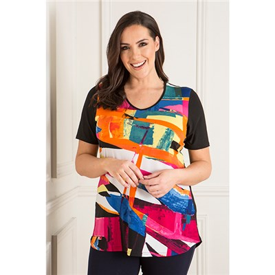 Anamor V-Neck Print Front Tunic with Short Sleeves