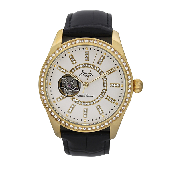 50% off Annie Apple Ladies' Automatic Watch with Open Heart, Swarovski Stones and Genuine Leather Strap