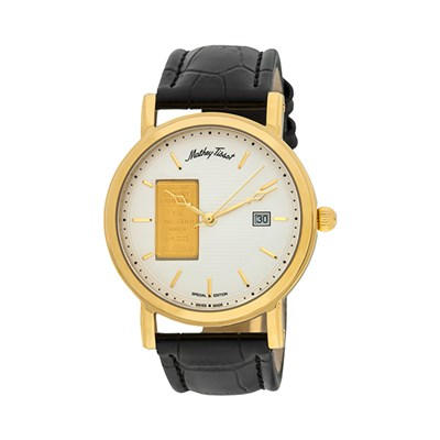 Mathey-Tissot Gent's Ingot Watch with IP Plated Case and Genuine Leather Strap