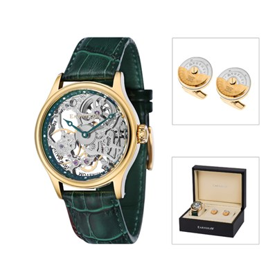 Thomas Earnshaw Gent's Bauer Mechanical Watch with Interchangeable Strap and Cufflinks