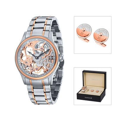 Thomas Earnshaw Gent's Bauer Mechanical Skeleton Watch with Stainless Steel Bracelet and Cufflinks