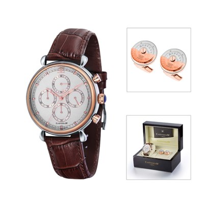 Thomas Earnshaw Gent's Grand Calendar Chronograph Watch with Genuine Leather Strap and Cufflinks