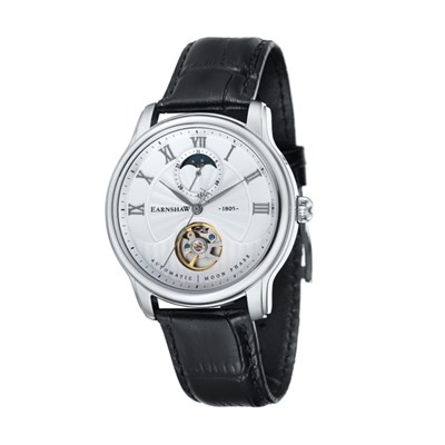 Thomas Earnshaw Gent's Longitude Moonphase Automatic Watch with Genuine Leather Strap