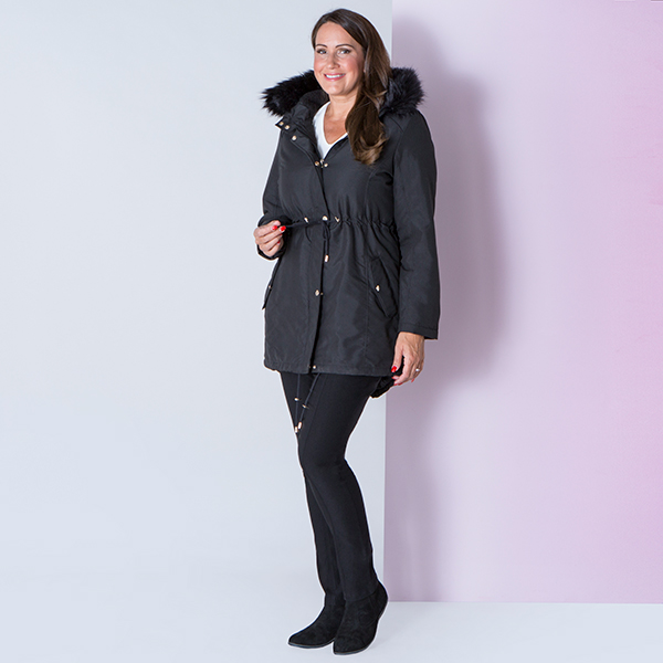 a8ac96653a5e Longline Parka Jacket with Faux Fur Trim (443561) | Ideal World