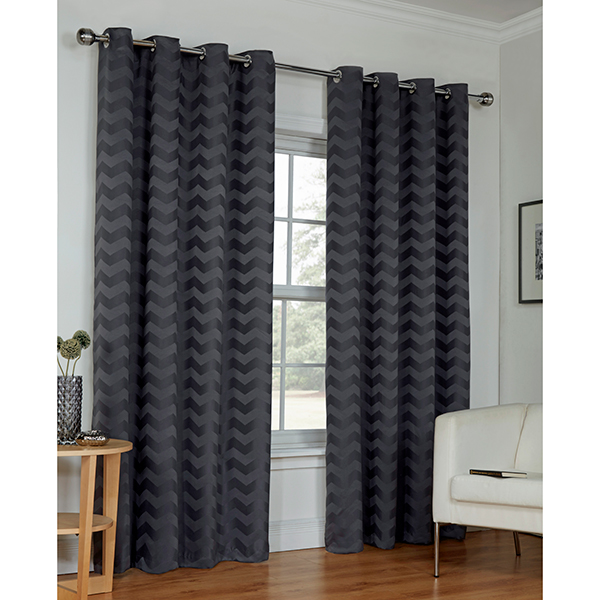 Zig Zag (46 inches x) Ring Top Curtains Grey