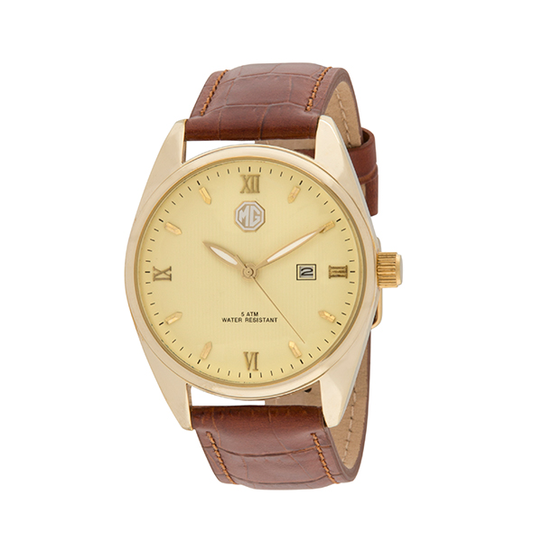 MG Gent's Watch with Genuine Leather Strap Cream