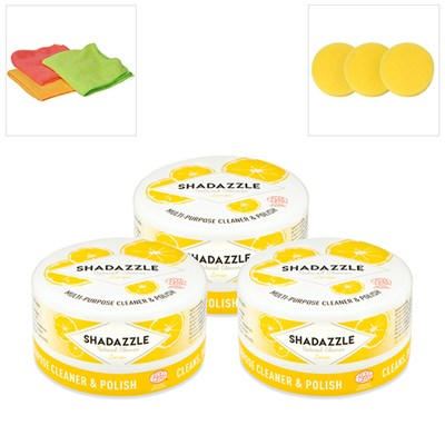 3 Shadazzle Natural Cleaner and Polish with 3 Extra Applicators and 3 Microfibre Cloths