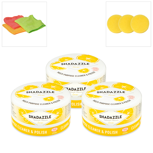 3 Shadazzle Natural Cleaner and Polish with 3 Extra Applicators and 3 Microfibre Cloths Lemon