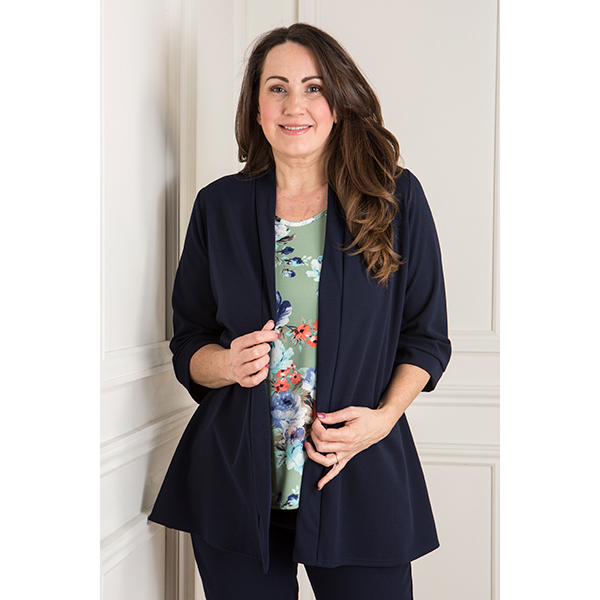 Nicole Crepe Side Split Jacket Navy
