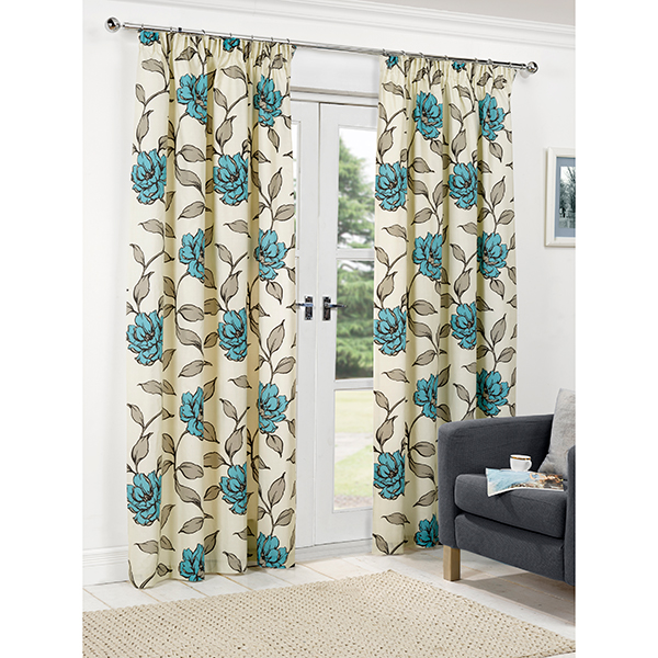 Floral (90 inches x) 3 inch Tape Header Curtains Teal