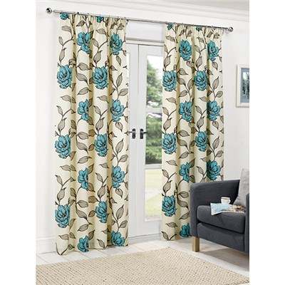 Floral (46 inches x) 3 Inch Tape Header Curtains